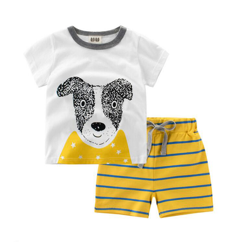 2017 summer new European and American childrens clothing childrens summer boys short-sleeved childrens T-shirt pants pants tw<br>