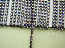 Free shipping 10 Yard Ss6.5 2mm B Grade AB Rhinestone Trim chain Color Setting(purple ) rhinestones applique