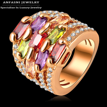 ANFASNI Colorful Zircon Ring Golden Color Multi-layer Engagement Rings Micro Pave Austrian Crystals Jewelry Free Ship Ri-HQ0215