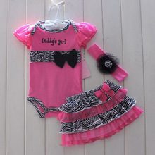 Fashion Newborn Baby Girl Clothes Short Romper,Tutu Skirt & Headband 3 PC Suits Infant Toddler Zebra Summer Girls Clothing Sets