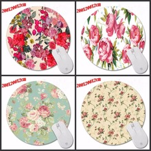 Red flowers Special Offer Pop Pattern Printing Mousepad Computer Laptop Mouse Pad Round Rubber Anti-slip Gaming Desk Mice Mat