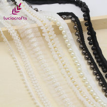 Lucia crafts 1y/lot white/black Beaded Lace Trim Tape Fabric Ribbon DIY Collar Sewing Garment Headdress materials 050025101(China)