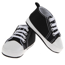 1 Pair Baby Boys Shoes Girls Sports Canvas Shoes Kids Children Plain Design First Walkers Black White 2017