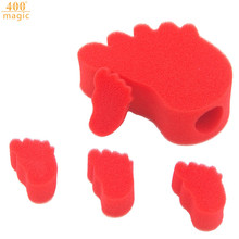 3pcs Magical Sponge Red Changing feet Close Magic Trick Prop free shipping one big feet and 4 small feet 400magic(China)