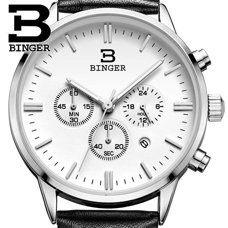 2017 Switzerland relogio masculino BINGER Chronograph Men Watches Sports waterproof Quartz Watch Luxury Brand Watch Men BG9201-4<br>