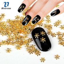 Metal Snowflake Design Charms 3D Copper Nail Art Decorations Gold Silver 2 Colors Glitter Christmas Studs For Nails PJ587 PJ588