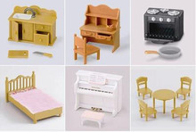 Elsadou 6 Different Play House Toys Sylvanian Families Desk Bed Piano Sink(China)