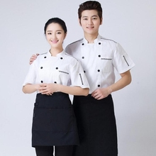 Short-sleeved White Men Hotel Chef Uniform Chinese Restaurant Cook Clothing Bar Kitchen Cook Work Wear Food Service Chef Tops 89