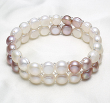 Freshwater Cultured Pearl Bracelet Freshwater Pearl with Glass Seed Beads Baroque 2-strand 8-9mm, Sold Per Approx 7 Inch Strand
