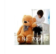 New stuffed circled-eyes light brown  teddy bear Plush 140 cm Doll 55 inch Toy gift wb8705