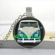 HZ--A348 Hot glass dome jewelry Vintage Blue Hippy Bus Photo Pendant Blue Hippy Bus Photo Necklace art gift for children