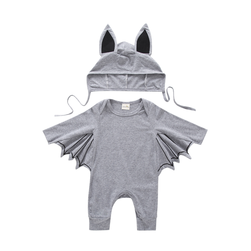 Halloween clothes for baby boy girl long sleeve bat jumpsuit+hat toddler outfit infant clothing newborn suit new born set gray