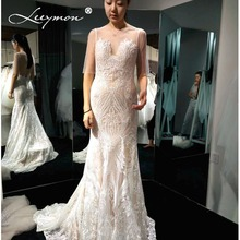 Buy 2018 New Backless Mermaid Wedding Dress Ivory Lace Nude lining Bridal Gown Ilussion Wedding Gown Robe de Mariee LY1101 for $246.00 in AliExpress store