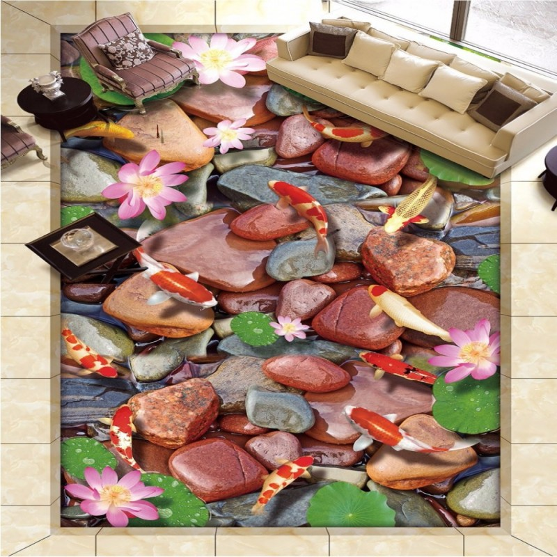 Free Shipping Lotus carp stone pond Hawthorn 3D floor tiles self-adhesive bedroom bathroom living room flooring mural<br><br>Aliexpress