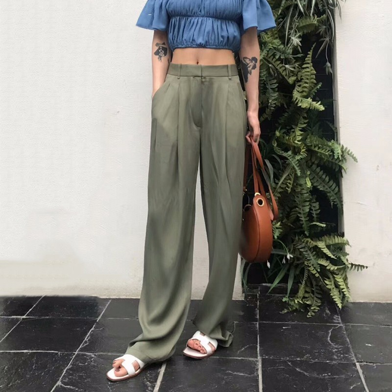 Comfortable Smooth Lady's Pants For Women High Waist Zipper Pocket Summer Large Size Long Trouser Fashion Elegant Clothing Nice