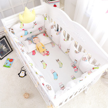 7pcs Multi Color and Size Baby Bed Cotton Accessories Cute Santa Socks Baby Bedding Set Around Crib Crown Bumpers Bedclothes(China)