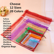 20 Colors Choose Jewelry Bag Organza Jewelry Packaging Bag Jewelry Pouches Christmas Organza Gift Bags Gold 20 Different Sizes