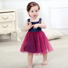 new baby girls dress Voile summer childrens fancy dress birthday baby dress next vestido infantil jeans Belt children clothing