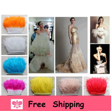 Free shipping 3 yard/lot Ostrich feather trim 10-15cm hight Natural Ostrich Feather fringe DIY Feather Cloth wedding dress(China)