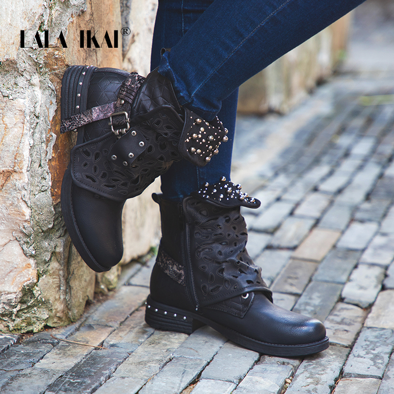 LALA IKAI Women Rhinestone Winter Boots Zipper Rivet Buckle Lace-up Ankle Western Boots Cowboy Round Toe Women Shoes 014A2164 -4