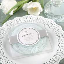 100sets 2pcs/set Free Shipping Wedding favors gifts Lace Exquisite Frosted Glass Coasters With Gift Box For Party WA2003