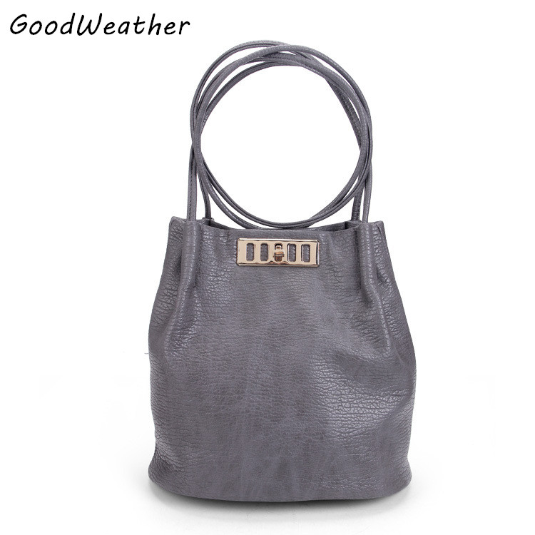 New arrival designer high quality PU leather handbags women bucket bags fashion gray soft surface ladies shoulder messenger bags<br><br>Aliexpress