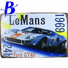 LE MANS 24H FORD GT40  Vintage Metal Tin Signs Retro Tin Plate Sign Wall Decoration for Cafe Bar Shop and Restaurant