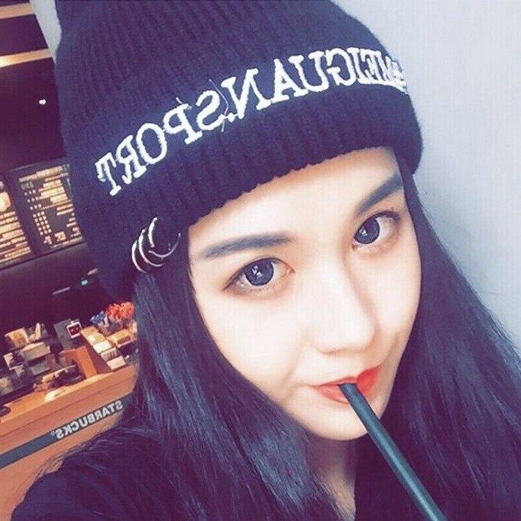 Kesebi Autumn Winter Female Casual Metal Ring Solid Color Skullies Beanies Women Korean Letters Thick Warm Knitting HatsÎäåæäà è àêñåññóàðû<br><br><br>Aliexpress