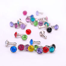 100 pcs Bling Diamond 3.5mm Earphone Jack Anti Dust Plug Cap Stopper mobile phone gadget accessories For IPHONE 5 4S Samsung Htc(China)
