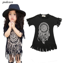 Girls Dress 2017 new spring summer style children's clothing personality style casual baby black wild fringed Dresses 2-5Y(China)