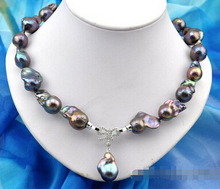 "Rare 18"" 26mm baroque black keshi reborn pearl necklace pendant  Factory Wholesale price Women Gift word Jewelry"