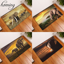 Homing Welcome Home Hallway Animal Print Mat Cozy African Elephant Family Water Absorption Bathroom Door Carpets Home Decor Pads(China)