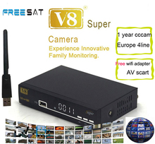 FREESAT V8 super receiver+wifi adapter+1year europe cccam+scart to av support receptor iptv bisskey powervu freesat v8 receiver(China)