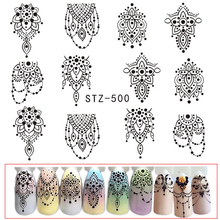 1 Sheets Hot Nail Sticker Black Necklace Jewelry Beauty Water Transfer Stamping Nail Art Tips Nail Decor Manicure Decal CHSTZ500(China)