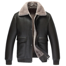 Mens Fur Coat Pilot Leather Jacket Men's Shearling Jacket Short Jacket Lapel Outerwear Genuine Leather Mens Flight Jacket TJ49(China)