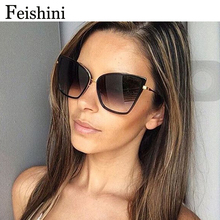 FEISHINI Brand Copper HD UV Protection Oculos Glasses Car Glare Rose Gold Cat Eye Sunglasses Women Polarized Mirror Luxury 2017(China)