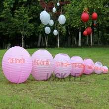 HAOCHU 5Pcs/lot 6-8-10-12-14-16Inch Pink Color Chinese Round Paper Lanterns For Wedding Baby Shower DIY Party Decoration Lampion