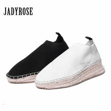 Jady Rose Knit Casual Shoes Platform Flat Shoes Woman Slip On Breathable  Stretch Ankle Boots Espadrilles Creepers Tenis Feminino 8bb1a594e7bd