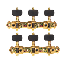 Gold Plated Guitar Machine Heads with Ebony Knob Enamel Rose Pattern 3L and 3R Classical Guitar Tuning Pegs Alice AOS-028CWP(Hong Kong)