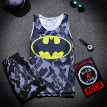 Superhero Letter Numbers Printed Singlets Double Layers Men Mesh Breathable Tank Shorts Fitness Vest Basketball Football Outfits