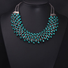 New Arrival Luxury Green Z Stone Clain Women Statement Gem Crystal Good Quality Collar Choker Women Necklace N183(China)