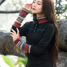 2018 autumn Chinese style high neck t shirt women bottoming national wind large size tops female Cashmere clothes feminine(China)