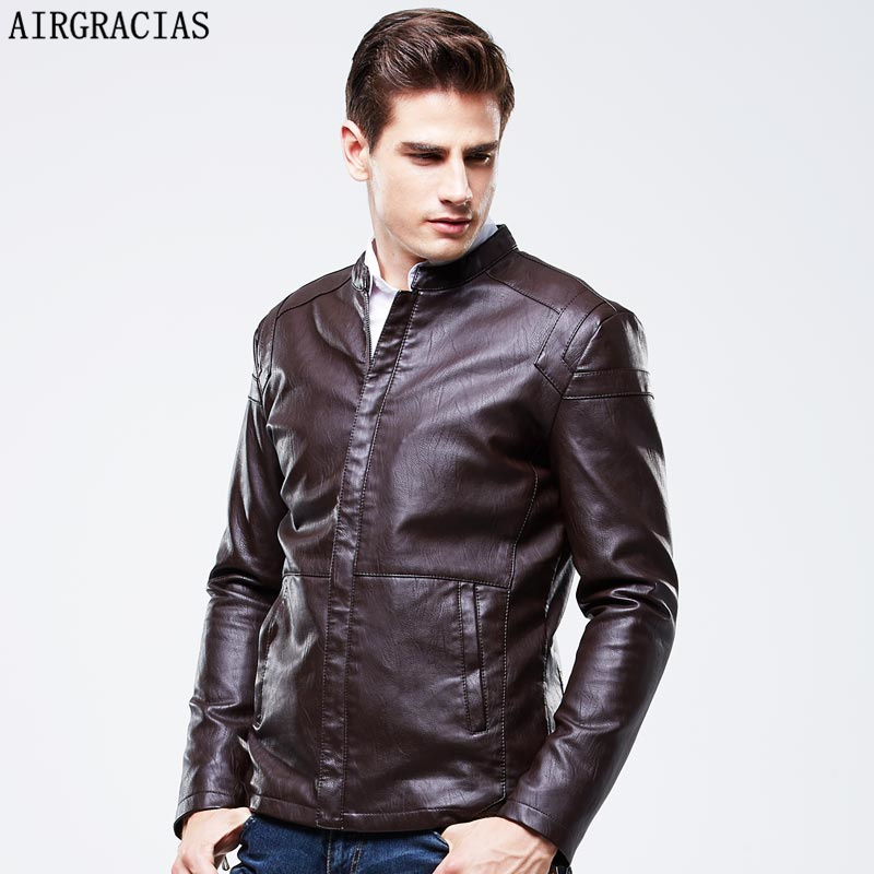 AIRGRACIAS 2017 New Trend Men\'s PU Jacket Black Li...
