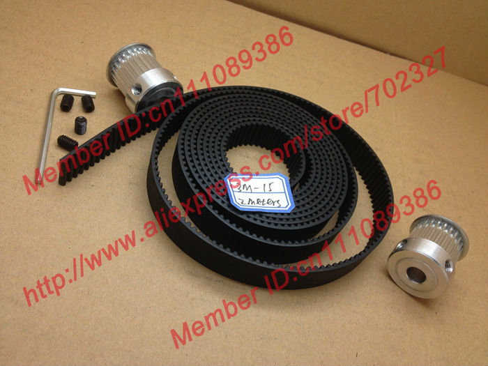 2pcs 24 teeth HTD 3M Timing Pulley Bore 6.35mm + 2Meters 3M timing belt Rubber width 15mm for CNC machines laser engraving<br>