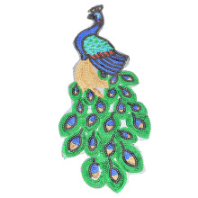 43x16cm Sewing Patches For Clothing Big Sequin Appliques Embroidered Garment Accessories Dress Cloth Decoration Peacock Fabric