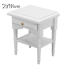 KiWarm 1:12 Dollhouse Miniature Furniture Wooden White Bedside Table Nightstand Cabinet DIY Ornament Decoration(China)