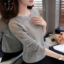 Dingaozlz Autumn new Korean Slim sweater tops elegant fashion women clothing mesh stitching sweater pullover lace shirt