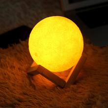 3D Creative Moon Lamp USB Charge LED Lamp Touch Sensor Decoration Night Light with Wooden Base