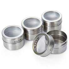 12pcs/set Clear Lid Magnetic Spice Tin Jar Stainless Steel Spice Sauce  Storage Container Jars Kitchen Condiment Holder Houseware