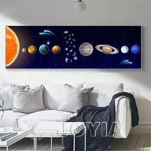 Modern Painting Cosmic Planet Canvas Art, Vast Solar System Planets and Moons Photo Prints, Bedside Room Kids Wall Decor No Fram